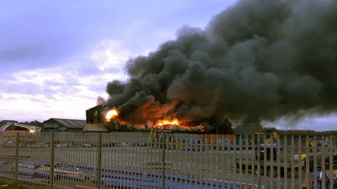Gardai are investigating a huge blaze which broke out in County Louth this evening