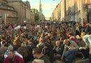 Over a thousand protesters hold a sit down protest on O'Connell Street Bridge to highlight the current housing crisis